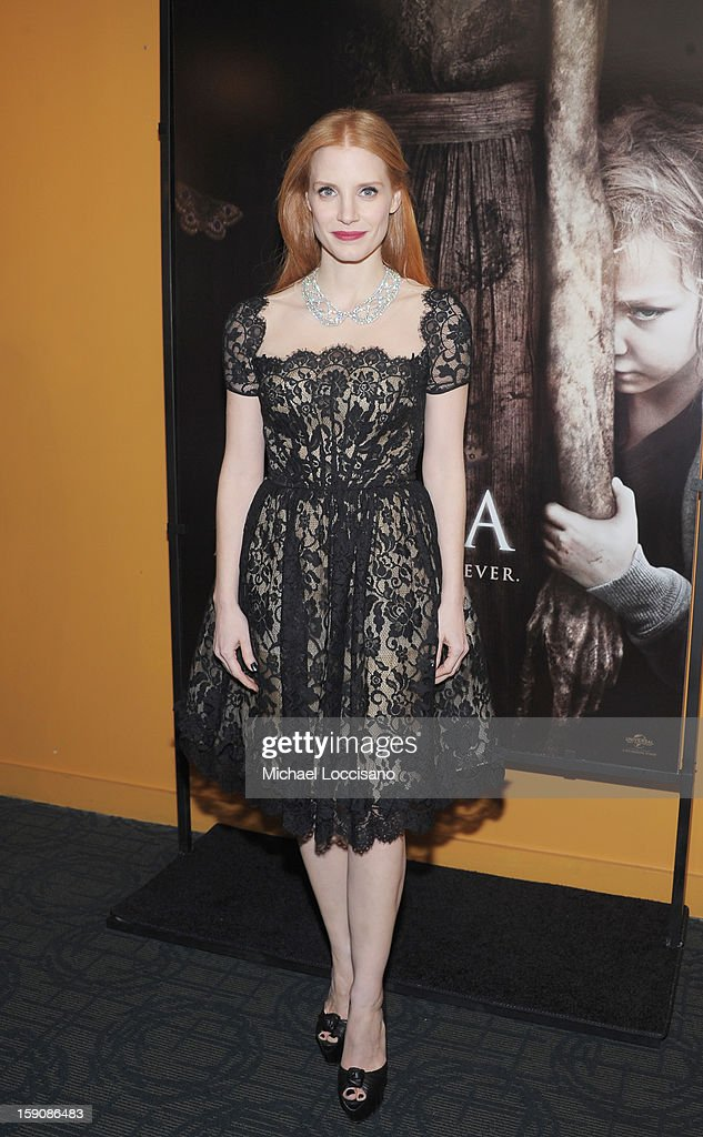 Actress <a gi-track='captionPersonalityLinkClicked' href=/galleries/search?phrase=Jessica+Chastain&family=editorial&specificpeople=653192 ng-click='$event.stopPropagation()'>Jessica Chastain</a> attends the 'Mama' New York Screening at Landmark's Sunshine Cinema on January 7, 2013 in New York City.