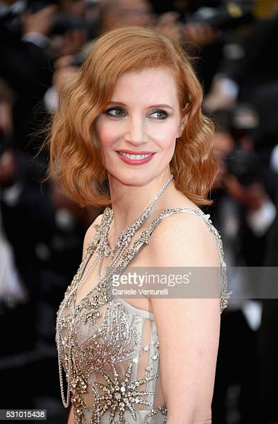 Actress Jessica Chastain attends the 'Money Monster' premiere during the 69th annual Cannes Film Festival at the Palais des Festivals on May 12 2016...