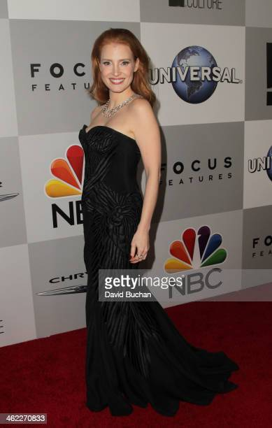 Actress Jessica Chastain attends the NBC Universal's 71st Annual Golden Globe Awards After Party at The Beverly Hilton Hotel on January 12 2014 in...
