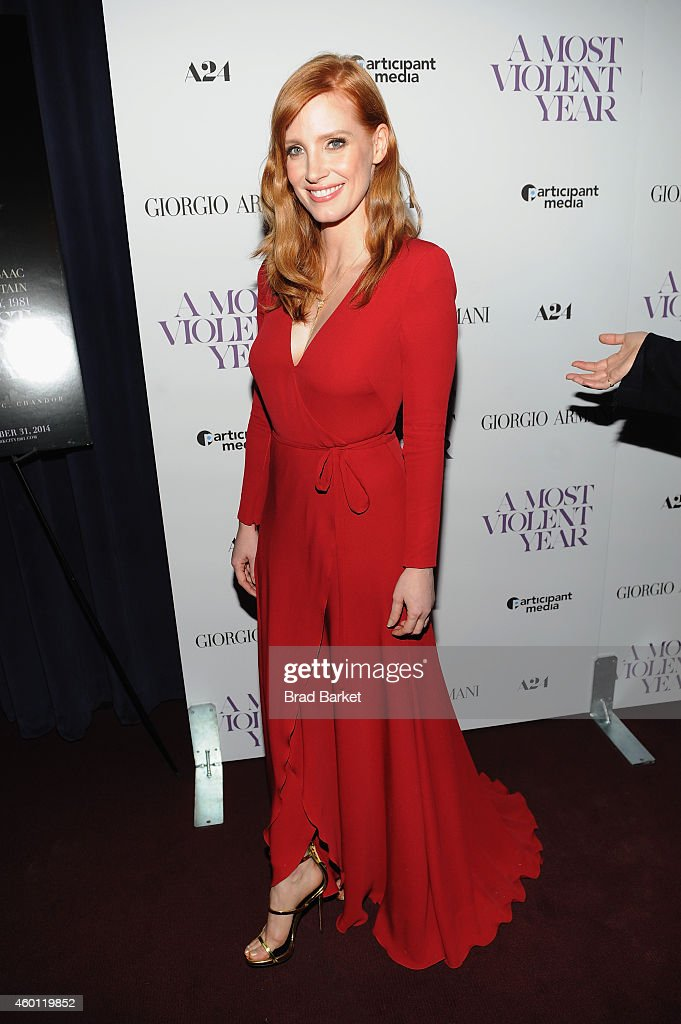 Actress Jessica Chastain attends the New York premiere of 'A Most Violent Year' at Florence Gould Hall on December 7, 2014 in New York City.