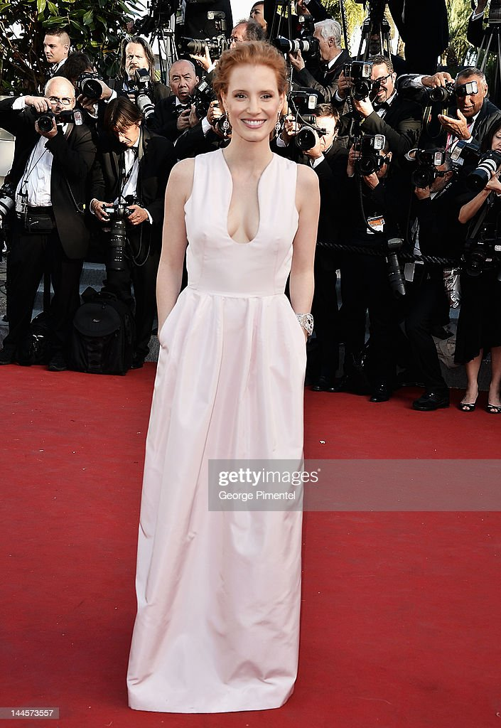 Actress <a gi-track='captionPersonalityLinkClicked' href=/galleries/search?phrase=Jessica+Chastain&family=editorial&specificpeople=653192 ng-click='$event.stopPropagation()'>Jessica Chastain</a> attends the Opening Ceremony and 'Moonrise Kingdom' Premiere during the 65th Annual Cannes Film Festival at the Palais des Festivals on May 16, 2012 in Cannes, France.