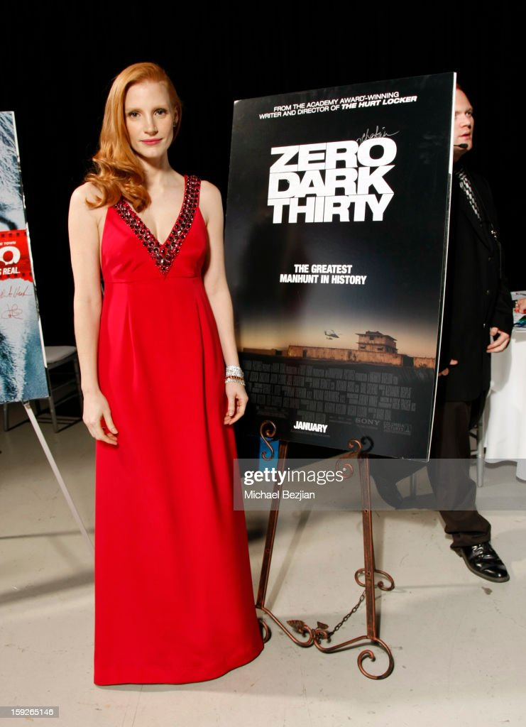 Actress <a gi-track='captionPersonalityLinkClicked' href=/galleries/search?phrase=Jessica+Chastain&family=editorial&specificpeople=653192 ng-click='$event.stopPropagation()'>Jessica Chastain</a> attends the poster signing event for charity during the Critics' Choice Movie Awards 2013 at Barkar Hangar on January 10, 2013 in Santa Monica, California.