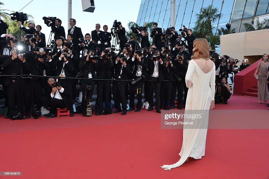 Actress Jessica Chastain attends the Premiere of 'Cleopatra' at The 66th Annual Cannes Film Festival on May 21, 2013 in Cannes, France.
