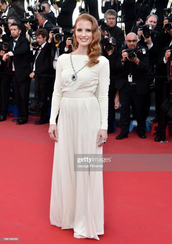 Actress <a gi-track='captionPersonalityLinkClicked' href=/galleries/search?phrase=Jessica+Chastain&family=editorial&specificpeople=653192 ng-click='$event.stopPropagation()'>Jessica Chastain</a> attends the Premiere of 'Cleopatra' at The 66th Annual Cannes Film Festival on May 21, 2013 in Cannes, France.