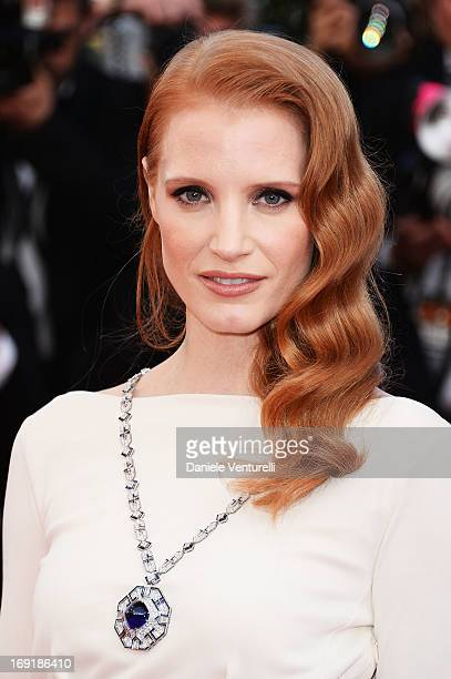 Actress Jessica Chastain attends the Premiere of 'Cleopatra' during the 66th Annual Cannes Film Festival at the Palais des Festivals on May 21 2013...