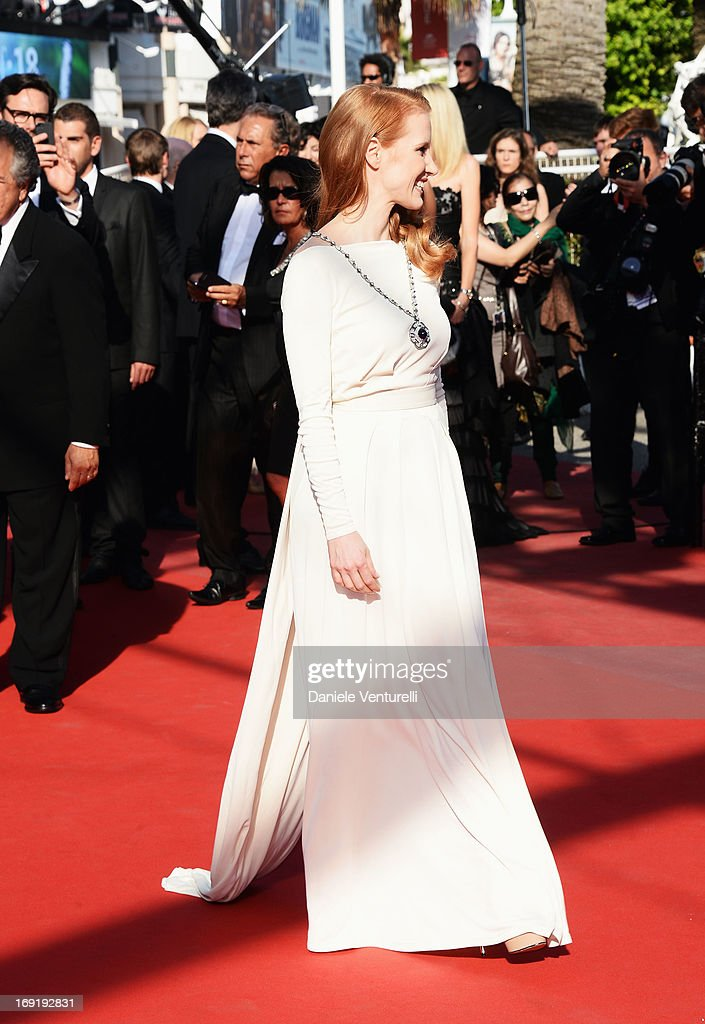 Actress Jessica Chastain attends the Premiere of 'Cleopatra' during the 66th Annual Cannes Film Festival at the Palais des Festivals on May 21, 2013 in Cannes, France.