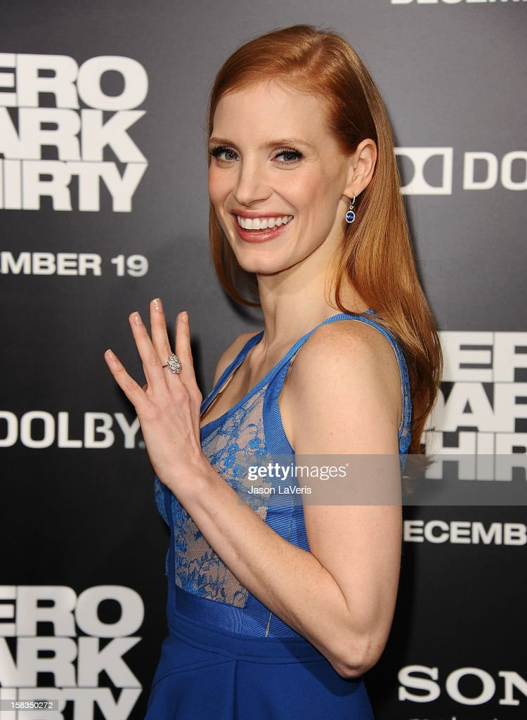 Actress <a gi-track='captionPersonalityLinkClicked' href=/galleries/search?phrase=Jessica+Chastain&family=editorial&specificpeople=653192 ng-click='$event.stopPropagation()'>Jessica Chastain</a> attends the premiere of 'Zero Dark Thirty' at the Dolby Theatre on December 10, 2012 in Hollywood, California.