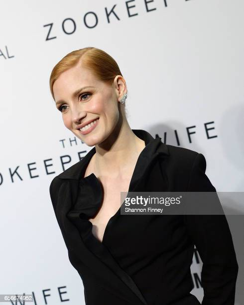 Actress Jessica Chastain attends the screening of the motion picutre 'The Zookeeper's Wife' at the United States Holocaust Memorial Museum on March...