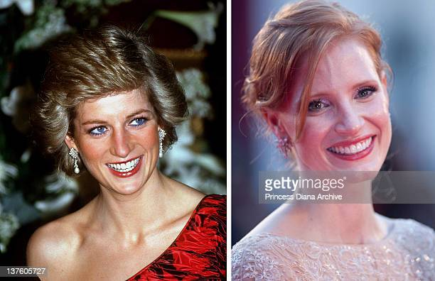 In this composite image a comparison has been made between Diana Princess of Wales and actress Jessica Chastain Oscar hype continues with the...