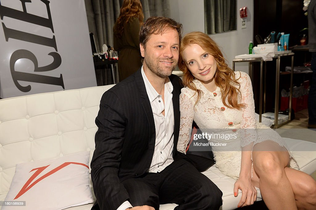 Actress <a gi-track='captionPersonalityLinkClicked' href=/galleries/search?phrase=Jessica+Chastain&family=editorial&specificpeople=653192 ng-click='$event.stopPropagation()'>Jessica Chastain</a> (R) attends Variety Studio presented by Moroccanoil at Holt Renfrew during the 2013 Toronto International Film Festival on September 9, 2013 in Toronto, Canada.