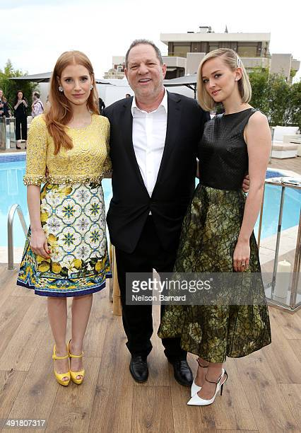 Actress Jessica Chastain cochairman of The Weinstein Company Harvey Weinstein and actress Jess Weixler attend 'The Disappearance Of Eleanor Rigby'...