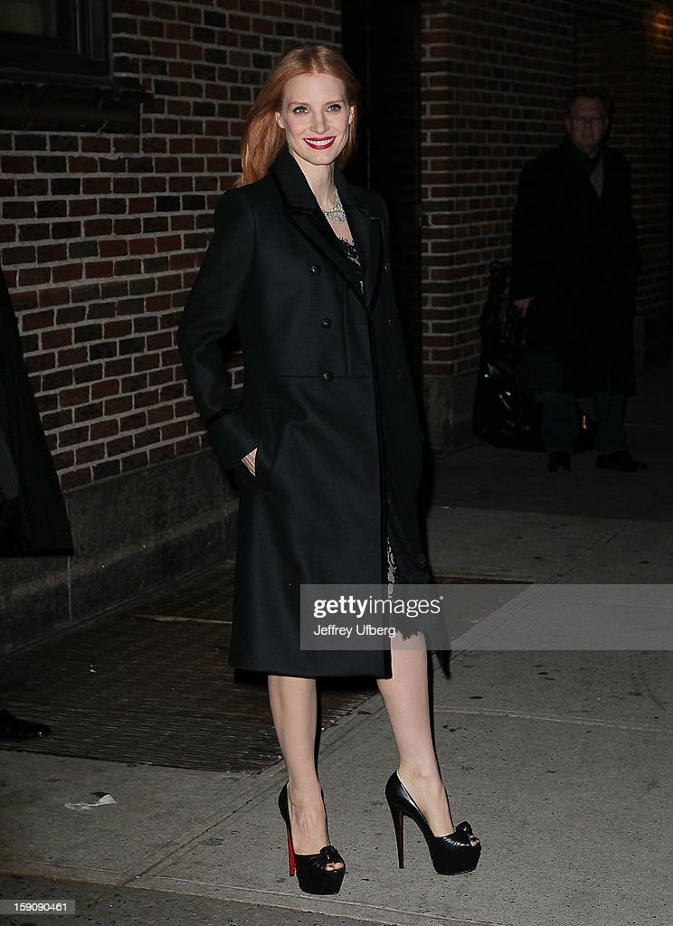 Actress <a gi-track='captionPersonalityLinkClicked' href=/galleries/search?phrase=Jessica+Chastain&family=editorial&specificpeople=653192 ng-click='$event.stopPropagation()'>Jessica Chastain</a> departs 'Late Show with David Letterman' at Ed Sullivan Theater on January 7, 2013 in New York City.