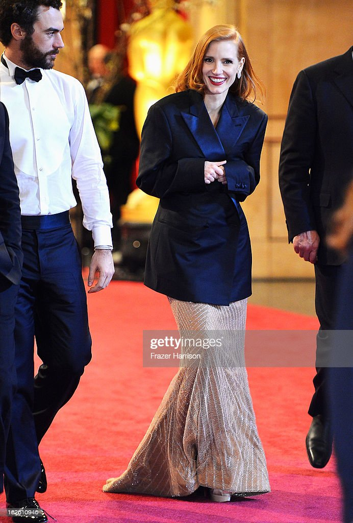 Actress Jessica Chastain departs the Oscars at Hollywood & Highland Center on February 24, 2013 in Hollywood, California.