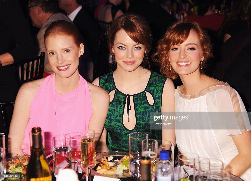 Actress <a gi-track='captionPersonalityLinkClicked' href=/galleries/search?phrase=Jessica+Chastain&family=editorial&specificpeople=653192 ng-click='$event.stopPropagation()'>Jessica Chastain</a>, <a gi-track='captionPersonalityLinkClicked' href=/galleries/search?phrase=Emma+Stone&family=editorial&specificpeople=672023 ng-click='$event.stopPropagation()'>Emma Stone</a> and Ahna O'Reilly attend the 17th Annual Critics' Choice Movie Awards held at The Hollywood Palladium on January 12, 2012 in Los Angeles, California.