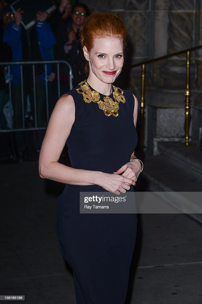 Actress <a gi-track='captionPersonalityLinkClicked' href=/galleries/search?phrase=Jessica+Chastain&family=editorial&specificpeople=653192 ng-click='$event.stopPropagation()'>Jessica Chastain</a> enters Cipriani 42nd Street on January 8, 2013 in New York City.
