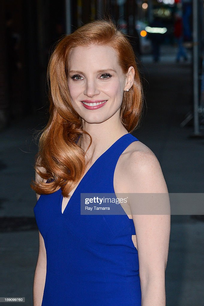 Actress <a gi-track='captionPersonalityLinkClicked' href=/galleries/search?phrase=Jessica+Chastain&family=editorial&specificpeople=653192 ng-click='$event.stopPropagation()'>Jessica Chastain</a> enters the 'Late Show With David Letterman' taping at the Ed Sullivan Theater on January 7, 2013 in New York City.