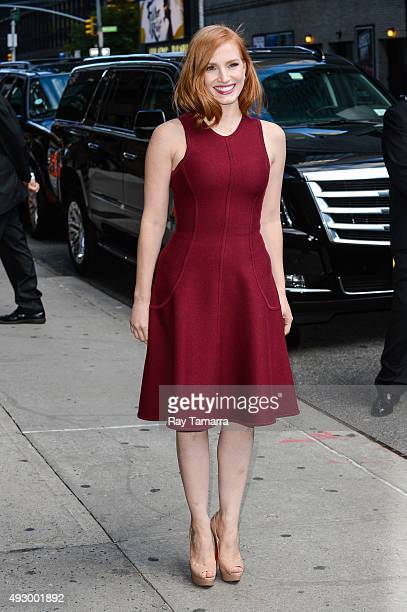 Actress Jessica Chastain enters 'The Late Show With Stephen Colbert' taping at the Ed Sullivan Theater on October 16 2015 in New York City