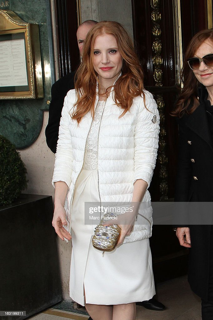 Actress <a gi-track='captionPersonalityLinkClicked' href=/galleries/search?phrase=Jessica+Chastain&family=editorial&specificpeople=653192 ng-click='$event.stopPropagation()'>Jessica Chastain</a> is seen leaving the 'Meurice' hotel on March 6, 2013 in Paris, France.