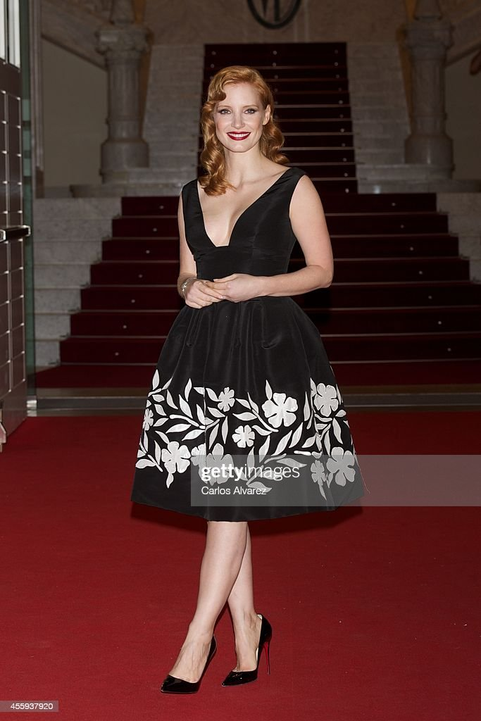 Actress Jessica Chastain is seen wearing a Jaeger LeCoultre watch at the 'The Dissapearance of Eleanor Rigby' premiere at the Victoria Eugenia...
