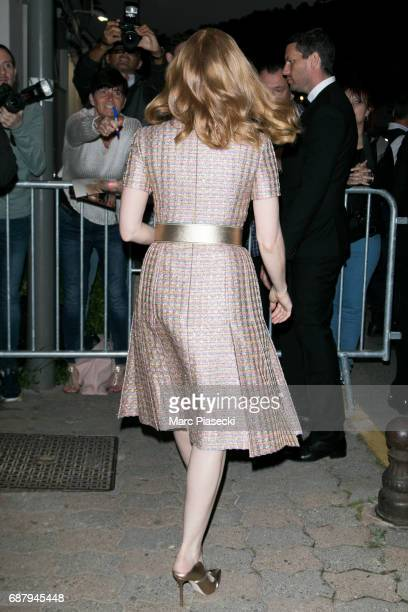 Actress Jessica Chastain is spotted during the 70th annual Cannes Film Festival at the 'Vanity Fair CHANEL' dinner at Tetou restaurant on May 24 2017...