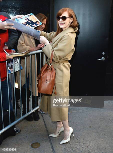 Actress Jessica Chastain leaves the 'Good Morning America' taping at the ABC Times Square Studios on November 3 2014 in New York City