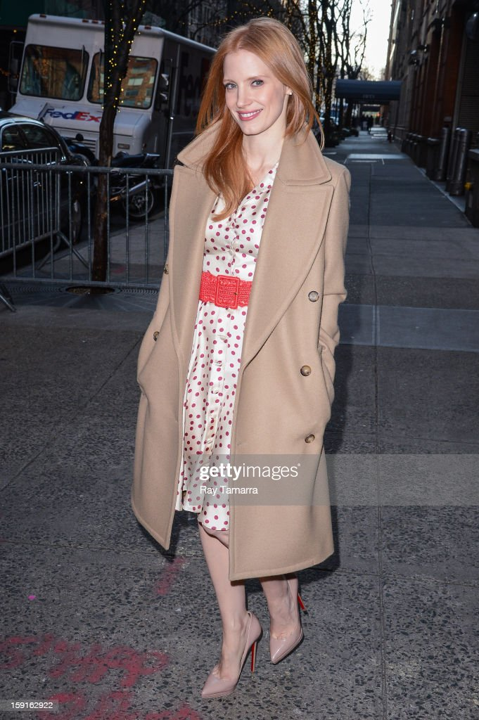 Actress <a gi-track='captionPersonalityLinkClicked' href=/galleries/search?phrase=Jessica+Chastain&family=editorial&specificpeople=653192 ng-click='$event.stopPropagation()'>Jessica Chastain</a> leaves the 'Live With Kelly And Michael' taping at ABC Lincoln Center Studios on January 8, 2013 in New York City.