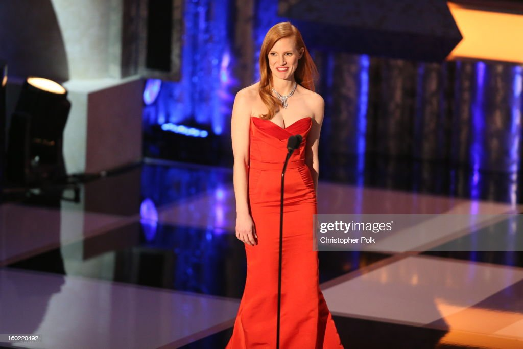 Actress Jessica Chastain on stage at the 19th Annual Screen Actors Guild Awards at The Shrine Auditorium on January 27, 2013 in Los Angeles, California. (Photo by Christopher Polk/WireImage) 23116_012_2064.JPG