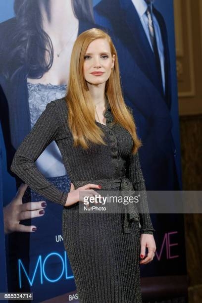 US actress Jessica Chastain poses during a photocall to promote her film 'Molly's game' at 'Ritz Hotel' in Madrid on December 4 2017 'Molly's game'...
