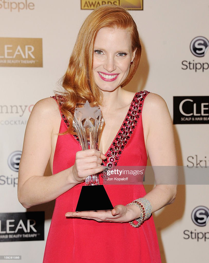 Actress <a gi-track='captionPersonalityLinkClicked' href=/galleries/search?phrase=Jessica+Chastain&family=editorial&specificpeople=653192 ng-click='$event.stopPropagation()'>Jessica Chastain</a> poses in the press room at the 18th Annual Critics' Choice Movie Awards at Barker Hangar on January 10, 2013 in Santa Monica, California.