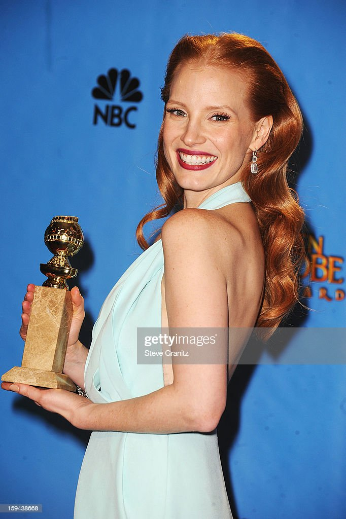 Actress <a gi-track='captionPersonalityLinkClicked' href=/galleries/search?phrase=Jessica+Chastain&family=editorial&specificpeople=653192 ng-click='$event.stopPropagation()'>Jessica Chastain</a> poses in the press room at the 70th Annual Golden Globe Awards held at The Beverly Hilton Hotel on January 13, 2013 in Beverly Hills, California.