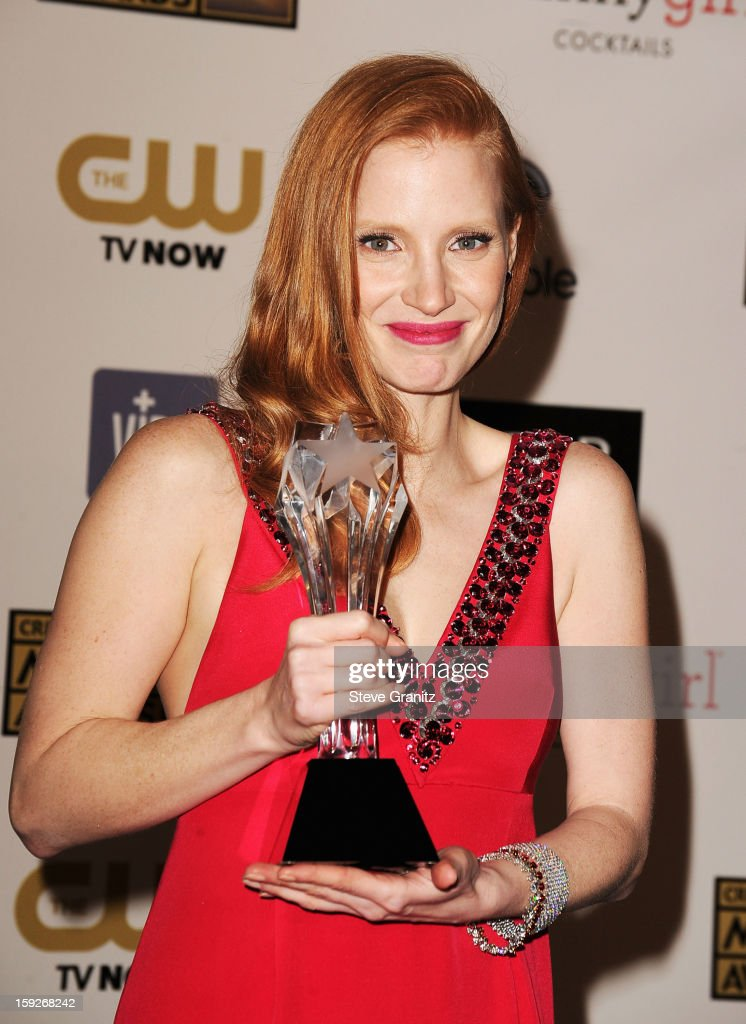 Actress <a gi-track='captionPersonalityLinkClicked' href=/galleries/search?phrase=Jessica+Chastain&family=editorial&specificpeople=653192 ng-click='$event.stopPropagation()'>Jessica Chastain</a> poses in the press room during the 18th Annual Critics' Choice Movie Awards at The Barker Hanger on January 10, 2013 in Santa Monica, California.