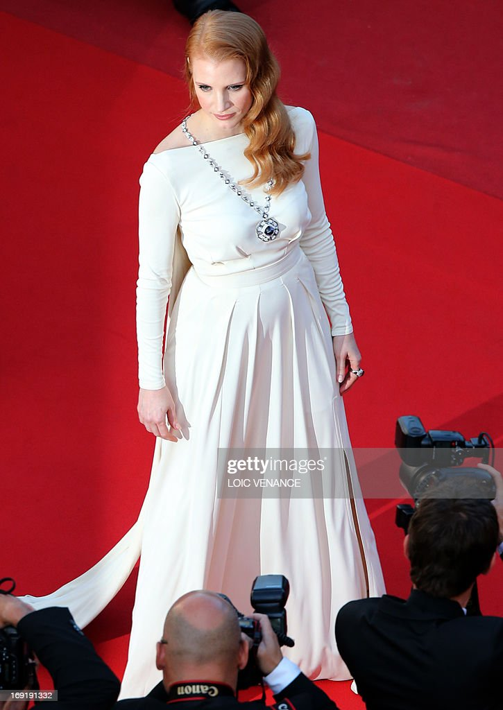 US actress Jessica Chastain poses on May 21, 2013 as she arrives for the screening of the film 'Cleopatra' presented in Cannes Classics at the 66th edition of the Cannes Film Festival in Cannes. Cannes, one of the world's top film festivals, opened on May 15 and will climax on May 26 with awards selected by a jury headed this year by Hollywood legend Steven Spielberg.