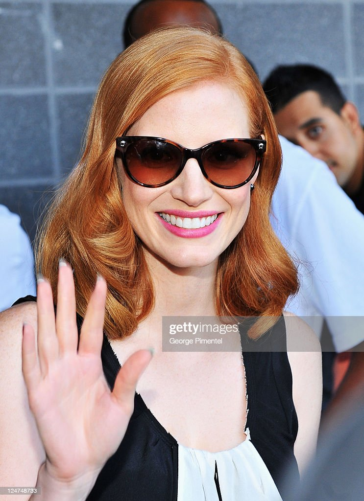 Actress Jessica Chastain seen on the streets of Toronto on September 12, 2011 in Toronto, Canada.