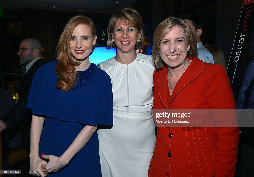 Actress <a gi-track='captionPersonalityLinkClicked' href=/galleries/search?phrase=Jessica+Chastain&family=editorial&specificpeople=653192 ng-click='$event.stopPropagation()'>Jessica Chastain</a>, <a gi-track='captionPersonalityLinkClicked' href=/galleries/search?phrase=Sharon+Waxman&family=editorial&specificpeople=233500 ng-click='$event.stopPropagation()'>Sharon Waxman</a>, CEO and Editor in Chief of TheWrap and Los Angeles City Controller Wendy Greuel attend TheWrap 4th Annual Pre-Oscar Party at Four Seasons Hotel Los Angeles at Beverly Hills on February 20, 2013 in Beverly Hills, California.