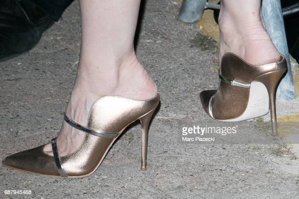Actress Jessica Chastain shoe detail is spotted during the 70th annual Cannes Film Festival at the 'Vanity Fair CHANEL' dinner at Tetou restaurant on...