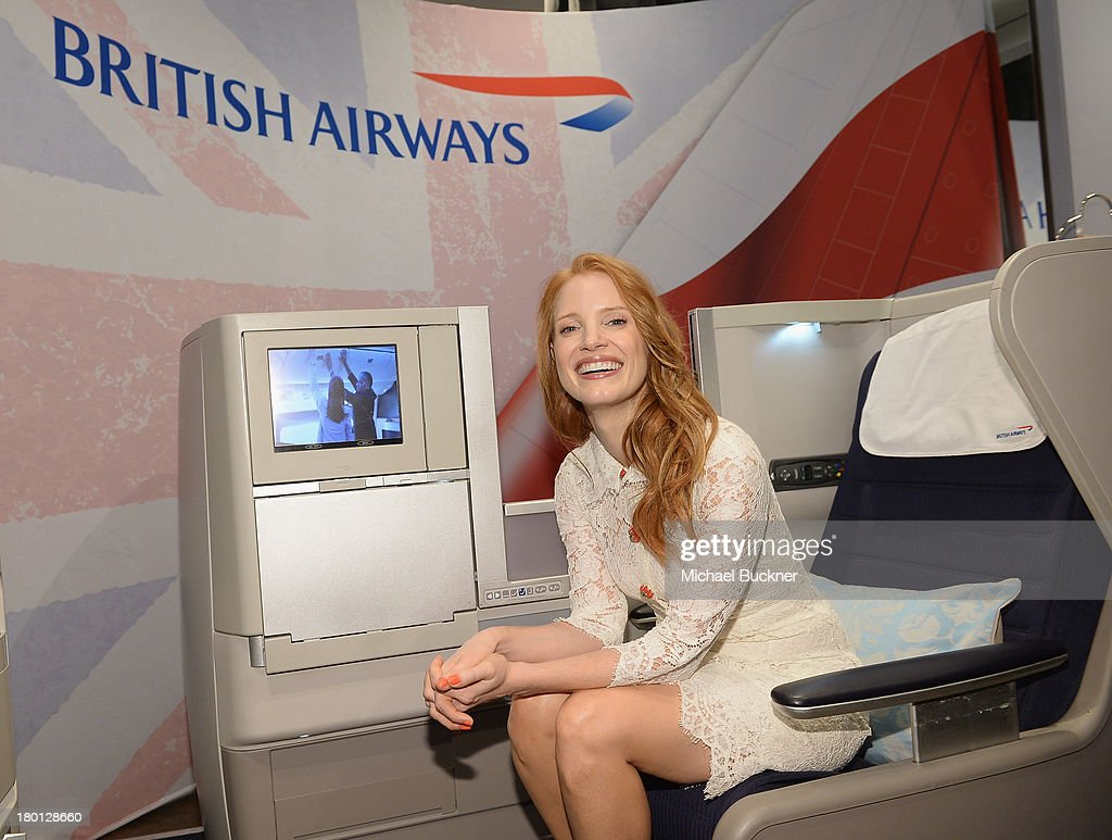 Actress Jessica Chastain sits in the British Airlines' Club World Seat at the Variety Studio presented by Moroccanoil at Holt Renfrew during the 2103 Toronto International Film Festival on September 9, 2013 in Toronto, Canada.