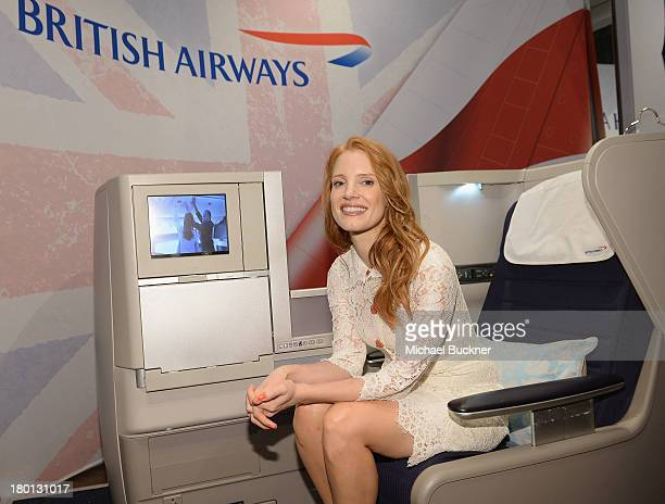 Actress Jessica Chastain sits in the British Airways' Club World Seat at the Variety Studio presented by Moroccanoil at Holt Renfrew during the 2103...