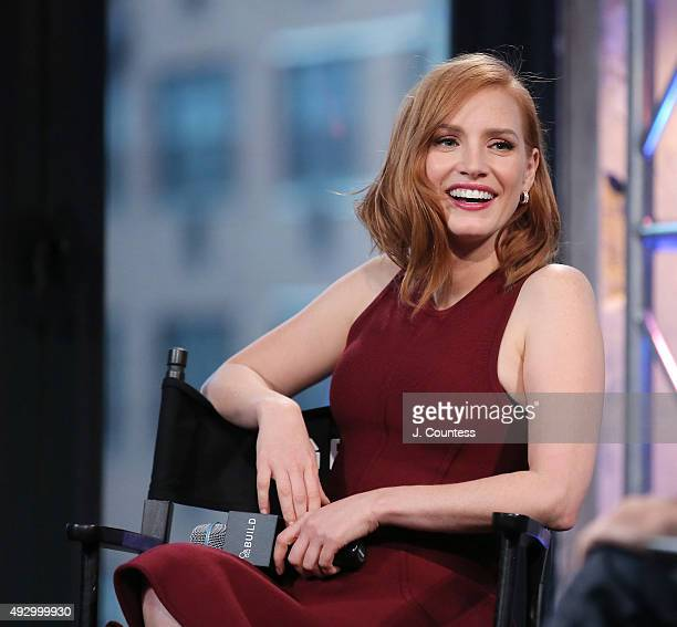 Actress Jessica Chastain speaks at the AOL BUILD Presents 'Crimson Peak' at AOL Studios In New York on October 16 2015 in New York City