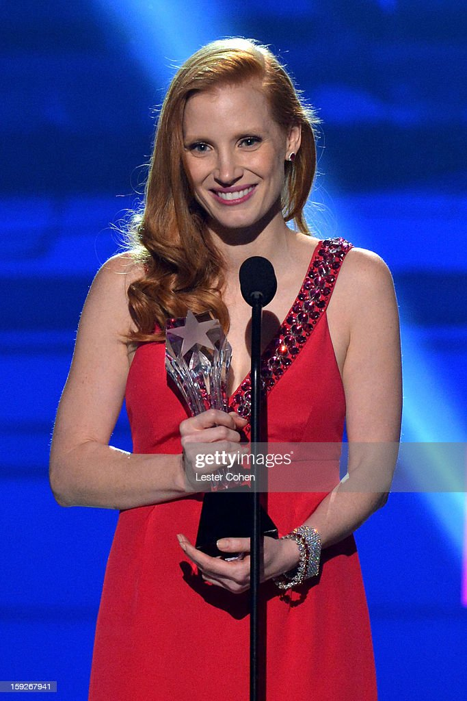 Actress <a gi-track='captionPersonalityLinkClicked' href=/galleries/search?phrase=Jessica+Chastain&family=editorial&specificpeople=653192 ng-click='$event.stopPropagation()'>Jessica Chastain</a> speaks onstage during the 18th Annual Critics' Choice Movie Awards at The Barker Hanger on January 10, 2013 in Santa Monica, California.