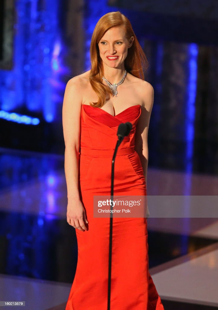 Actress Jessica Chastain speaks onstage during the 19th Annual Screen Actors Guild Awards at The Shrine Auditorium on January 27, 2013 in Los Angeles, California. (Photo by Christopher Polk/WireImage) 23116_012_2064.jpg