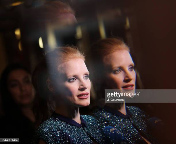 Actress Jessica Chastain speaks to the media at the premiere of 'Molly's Game' during the 2017 Toronto International Film Festival at The Elgin on...