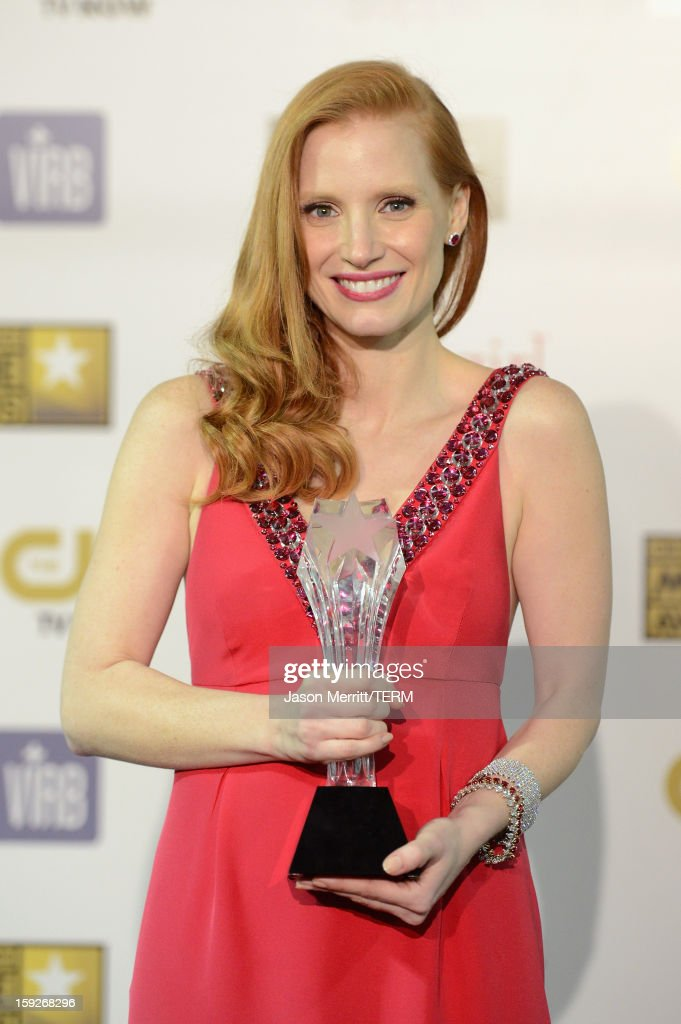 Actress Jessica Chastain, winner of Best Actress for 'Zero Dark Thirty,' poses in the press room at the 18th Annual Critics' Choice Movie Awards held at Barker Hangar on January 10, 2013 in Santa Monica, California.