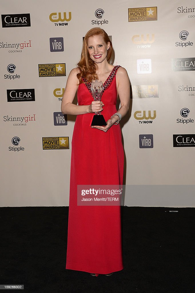 Actress <a gi-track='captionPersonalityLinkClicked' href=/galleries/search?phrase=Jessica+Chastain&family=editorial&specificpeople=653192 ng-click='$event.stopPropagation()'>Jessica Chastain</a>, winner of Best Actress for 'Zero Dark Thirty,' poses in the press room at the 18th Annual Critics' Choice Movie Awards held at Barker Hangar on January 10, 2013 in Santa Monica, California.