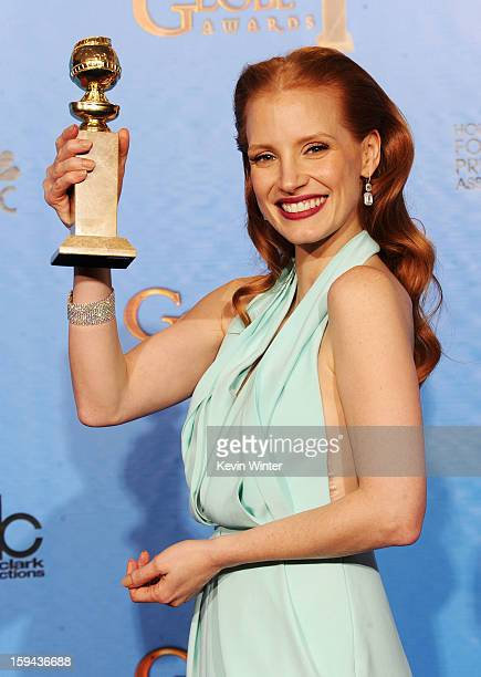 Actress Jessica Chastain winner of Best Actress in a Motion Picture for 'Zero Dark Thirty' poses in the press room during the 70th Annual Golden...