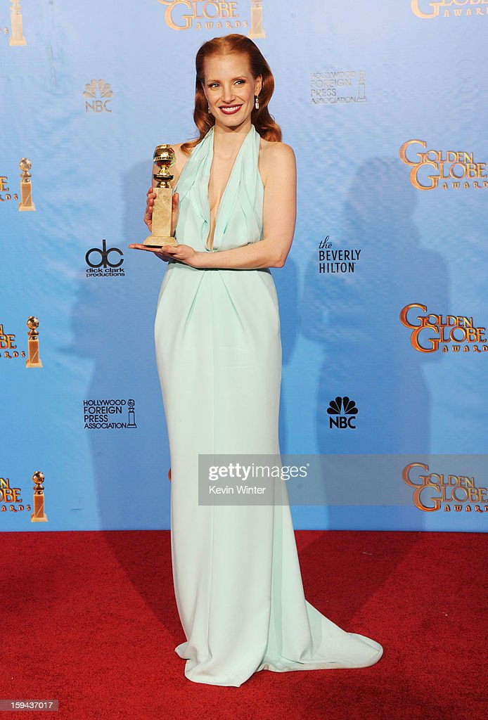Actress Jessica Chastain, winner of Best Actress in a Motion Picture (Drama) for 'Zero Dark Thirty,' poses in the press room during the 70th Annual Golden Globe Awards held at The Beverly Hilton Hotel on January 13, 2013 in Beverly Hills, California.