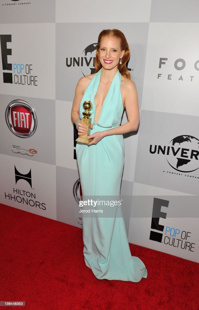 Actress Jessica Chastain, winner of Best Actress in a Motion Picture (Drama) for 'Zero Dark Thirty,' attends the NBCUniversal Golden Globes viewing and after party held at The Beverly Hilton Hotel on January 13, 2013 in Beverly Hills, California.