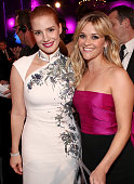 Actress Jessica Chastain winner of Critics' Choice MVP Award with Actress Reese Witherspoon pose during the 20th annual Critics' Choice Movie Awards...