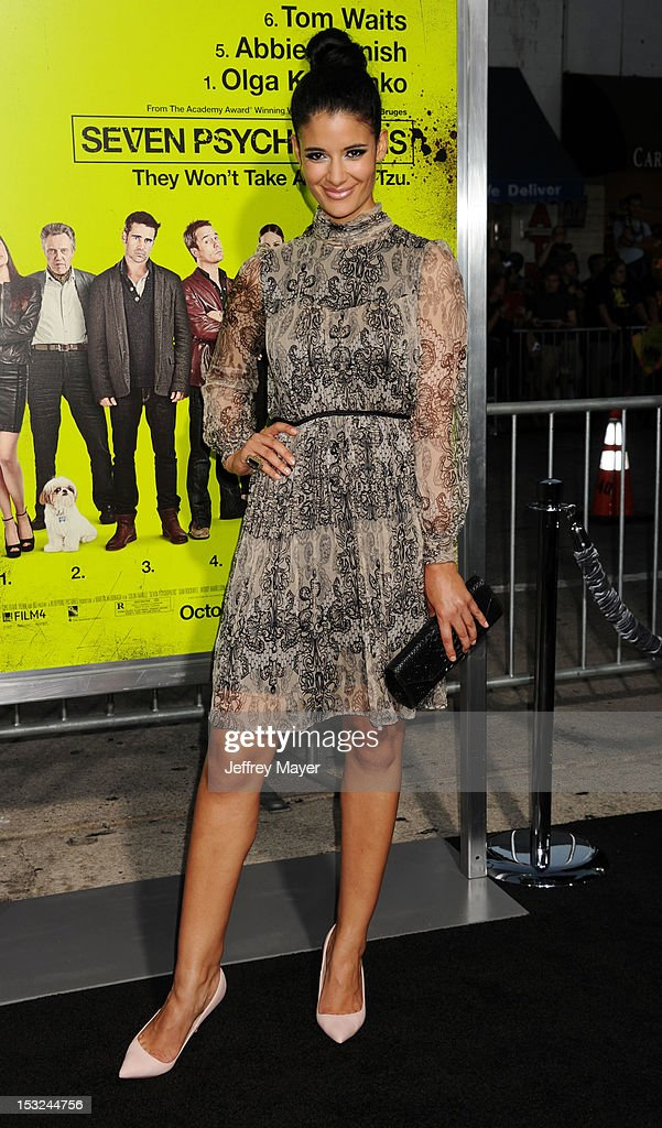 Actress Jessica Clark arrives at the Los Angeles premiere of 'Seven Psychopaths' at Mann Bruin Theatre on October 1, 2012 in Westwood, California.