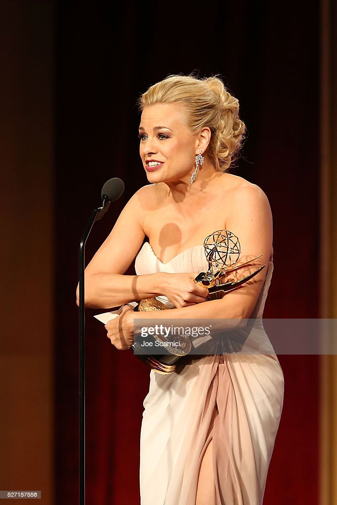 Actress Jessica Collins speaks onstage after receiving her Emmy for Best Supporting Actress at the 2016 Daytime Emmy Awards at Westin Bonaventure Hotel on May 1, 2016 in Los Angeles, California.