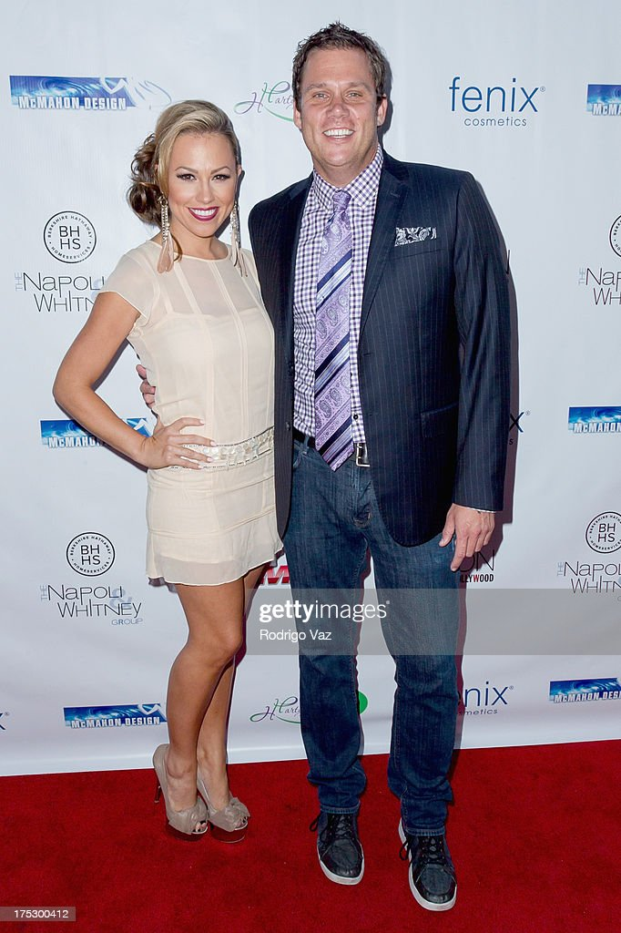Actress Jessica Hall (L) and TV personality Bob Guiney arrive at Playboy Radio's Hollywood Casino Night benefiting The Leukemia & Lymphoma Society's Hodgkins Haters at W Hollywood on August 1, 2013 in Hollywood, California.